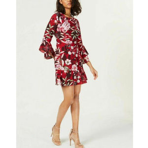 Bar III NWT Red Floral Print Bell Sleeve Dress